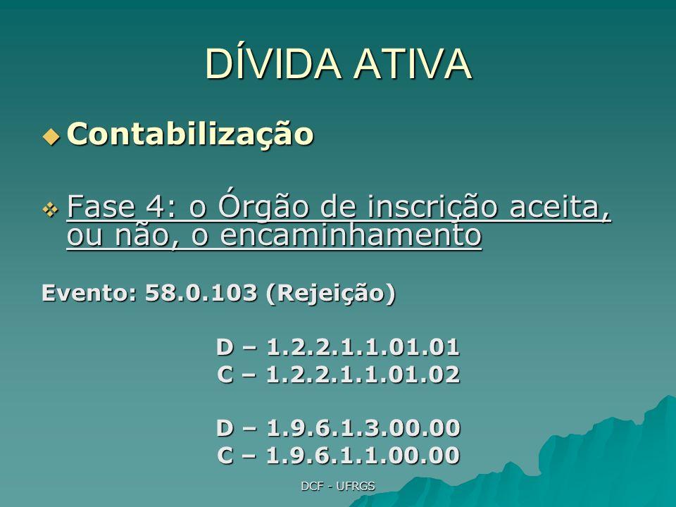DCF - UFRGS DÍVIDA ATIVA Contabilização Contabilização Fase 4: o Órgão de inscrição aceita, ou não, o encaminhamento Fase 4: o Órgão de inscrição aceita, ou não, o encaminhamento Evento: 58.0.102 (Aceitação) D – 5.2.3.1.7.01.33 C – 1.2.2.1.1.01.02 D – 1.2.2.1.1.02.00 C – 6.2.3.1.7.10.01 D - 1.9.6.1.2.00.00 C – 1.9.6.1.1.00.00