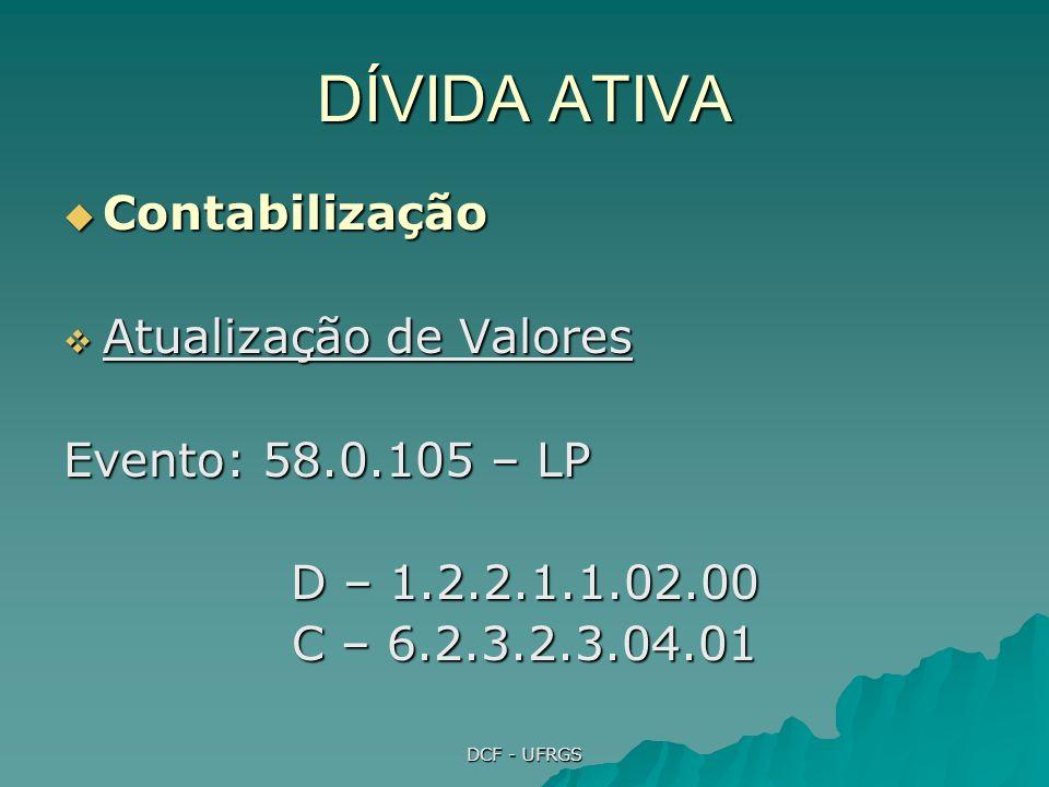 DCF - UFRGS DÍVIDA ATIVA Fontes: Fontes: Manual de Procedimentos da Dívida Ativa (aprovado pela Portaria STN 564, 27/10/04) Manual de Procedimentos da Dívida Ativa (aprovado pela Portaria STN 564, 27/10/04) Manual SIAFI, Macrofunção 02.11.12 Manual SIAFI, Macrofunção 02.11.12