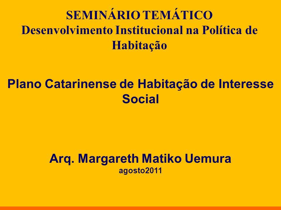 Plano Catarinense de Habitação de Interesse Social Arq. Margareth Matiko Uemura agosto2011 SEMINÁRIO TEMÁTICO Desenvolvimento Institucional na Polític