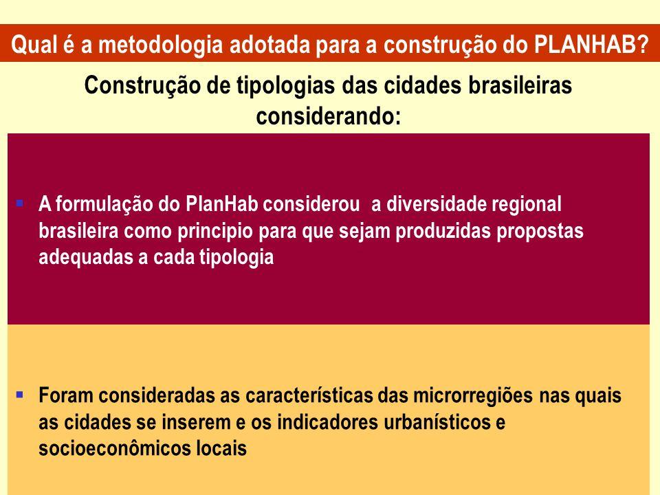 Construção de tipologias das cidades brasileiras considerando: A formulação do PlanHab considerou a diversidade regional brasileira como principio par