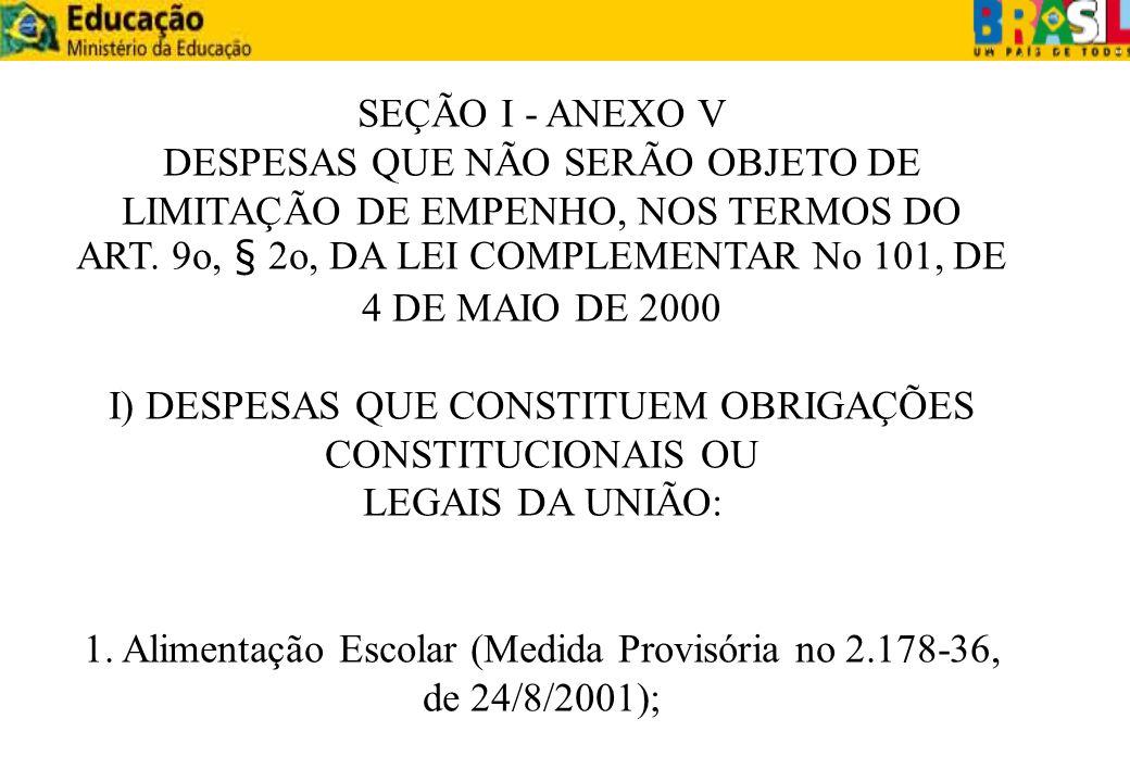 SEÇÃO I - ANEXO V DESPESAS QUE NÃO SERÃO OBJETO DE LIMITAÇÃO DE EMPENHO, NOS TERMOS DO ART. 9o, § 2o, DA LEI COMPLEMENTAR No 101, DE 4 DE MAIO DE 2000