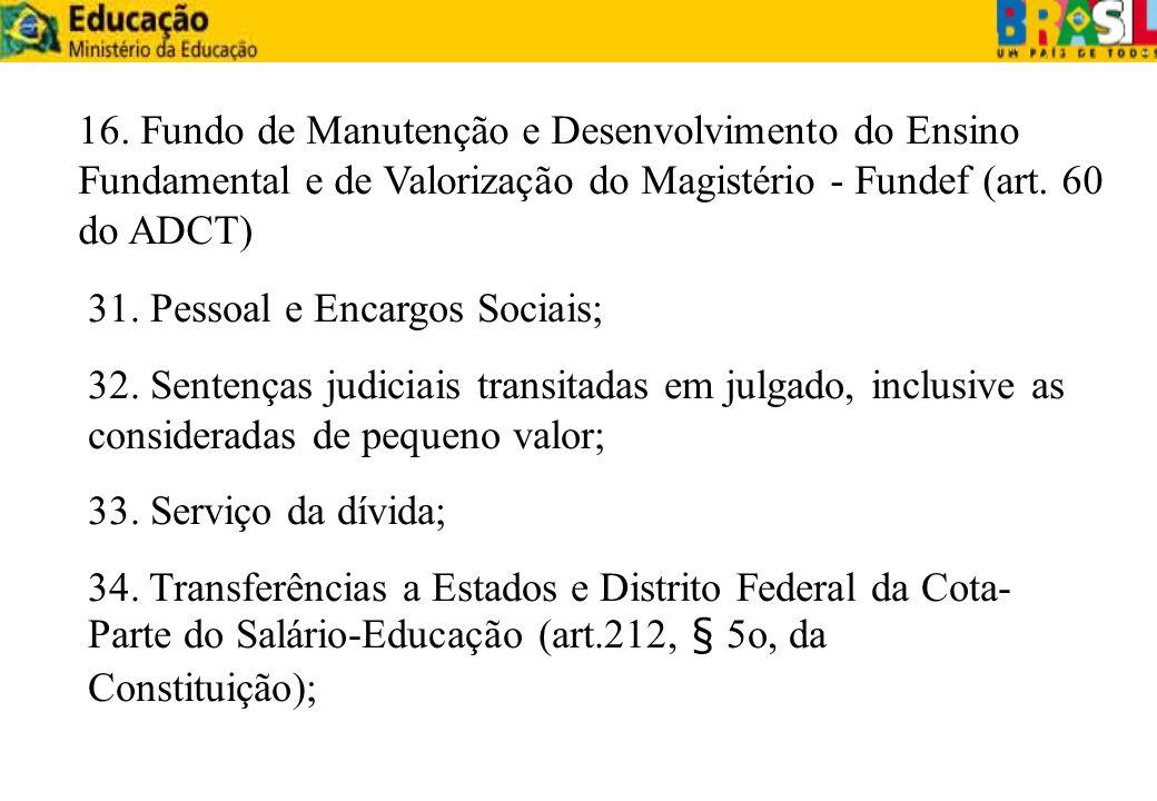 31. Pessoal e Encargos Sociais; 32. Sentenças judiciais transitadas em julgado, inclusive as consideradas de pequeno valor; 33. Serviço da dívida; 34.