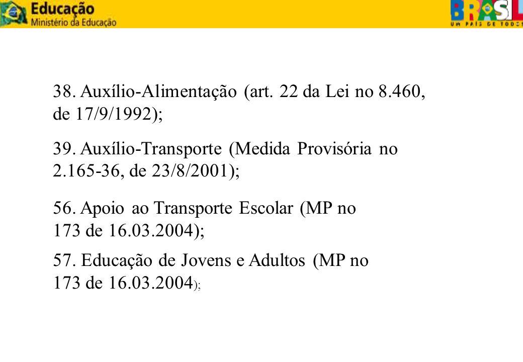38. Auxílio-Alimentação (art. 22 da Lei no 8.460, de 17/9/1992); 39. Auxílio-Transporte (Medida Provisória no 2.165-36, de 23/8/2001); 56. Apoio ao Tr