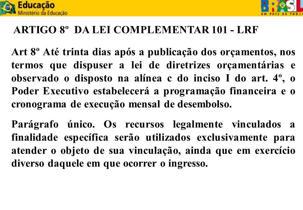 ARTIGO 8º DA LEI COMPLEMENTAR 101 - LRF Art 8º Até trinta dias após a publicação dos orçamentos, nos termos que dispuser a lei de diretrizes orçamentá