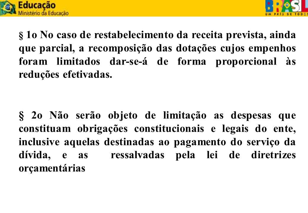 § 1o No caso de restabelecimento da receita prevista, ainda que parcial, a recomposição das dotações cujos empenhos foram limitados dar-se-á de forma