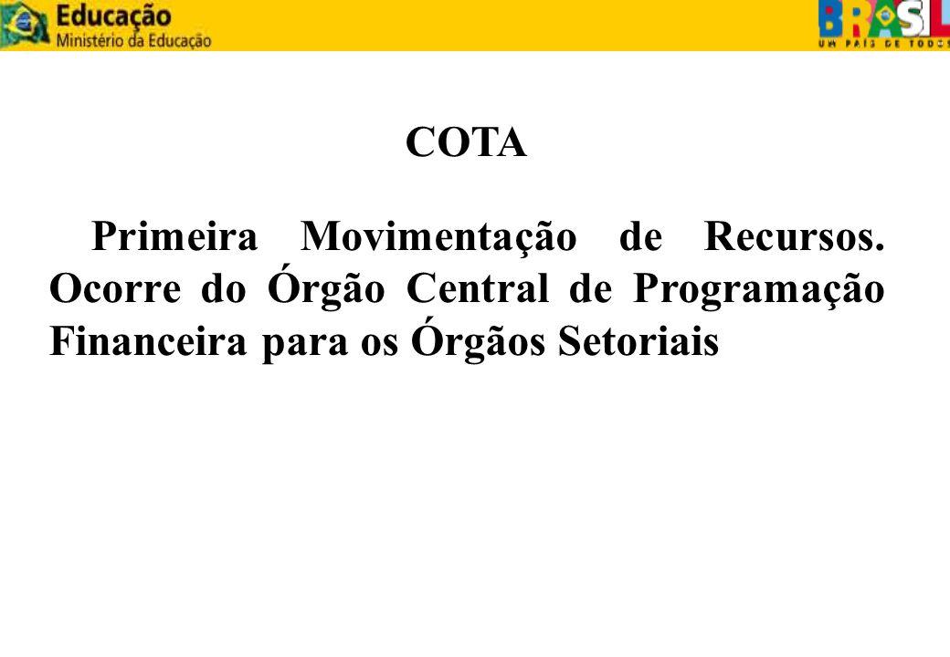 COTA Primeira Movimentação de Recursos. Ocorre do Órgão Central de Programação Financeira para os Órgãos Setoriais