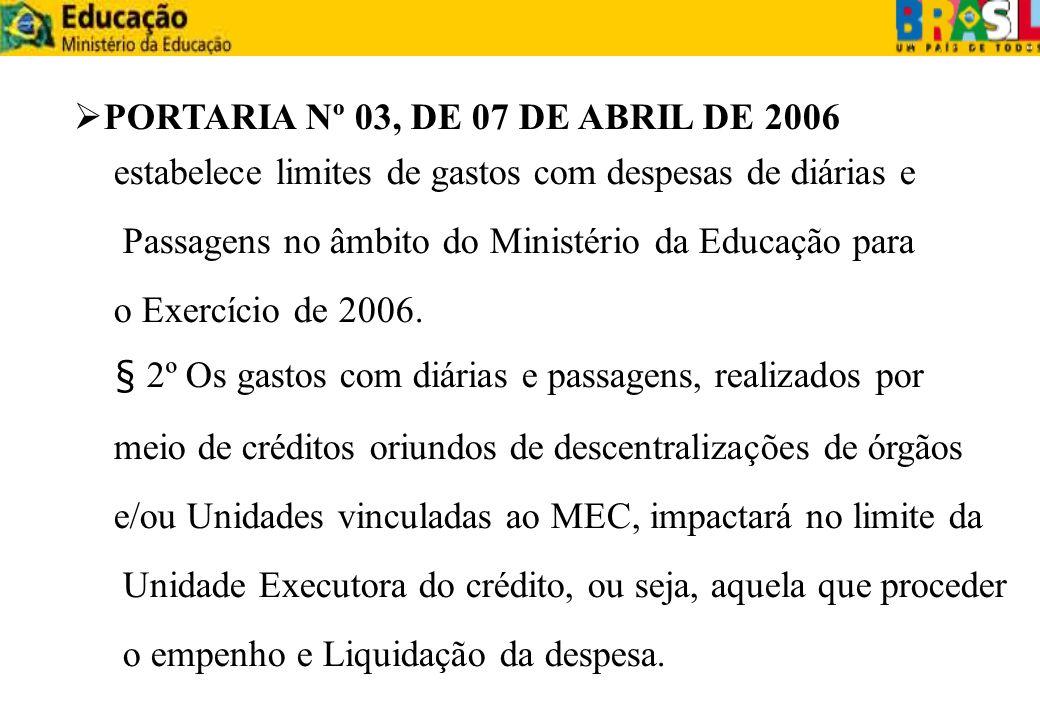 estabelece limites de gastos com despesas de diárias e Passagens no âmbito do Ministério da Educação para o Exercício de 2006. § 2º Os gastos com diár
