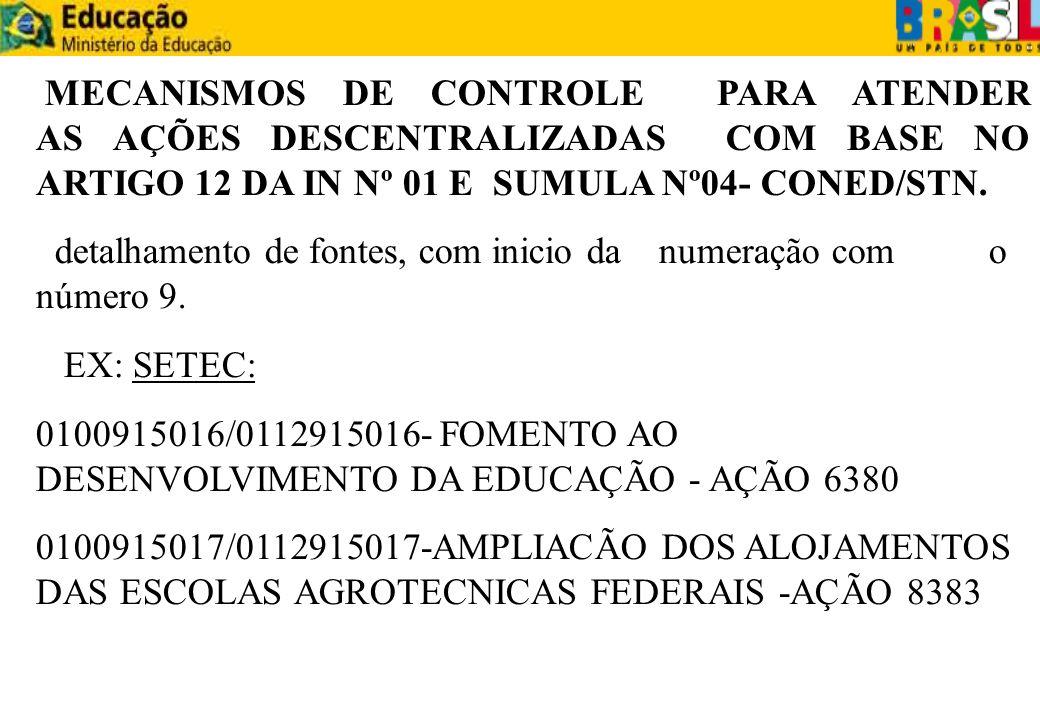 MECANISMOS DE CONTROLE PARA ATENDER AS AÇÕES DESCENTRALIZADAS COM BASE NO ARTIGO 12 DA IN Nº 01 E SUMULA Nº04- CONED/STN. detalhamento de fontes, com