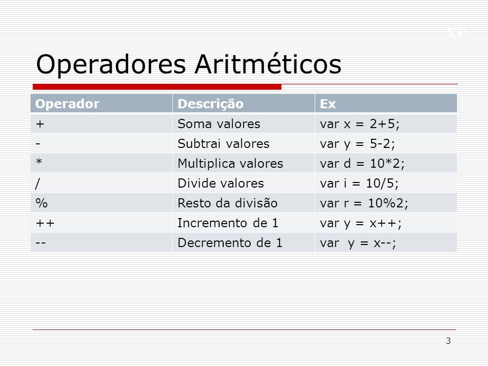 XP Operadores Aritméticos 3 OperadorDescriçãoEx +Soma valoresvar x = 2+5; -Subtrai valoresvar y = 5-2; *Multiplica valoresvar d = 10*2; /Divide valore