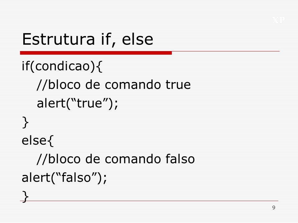XP Estrutura if, else if if(condicao){ //bloco true } else if(condicao){ //bloco true } else{ //bloco falso } 10