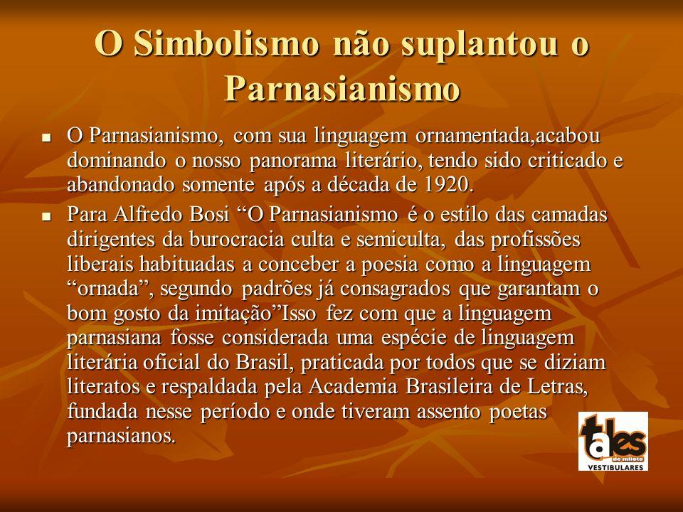O Simbolismo não suplantou o Parnasianismo O Parnasianismo, com sua linguagem ornamentada,acabou dominando o nosso panorama literário, tendo sido crit
