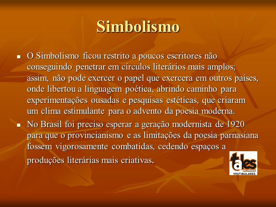 Simbolismo O Simbolismo ficou restrito a poucos escritores não conseguindo penetrar em círculos literários mais amplos; assim, não pode exercer o pape