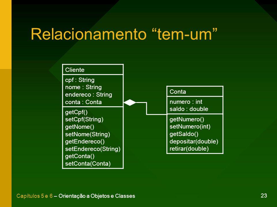 23 Capítulos 5 e 6 – Orientação a Objetos e Classes Relacionamento tem-um Cliente cpf : String nome : String endereco : String conta : Conta getCpf()