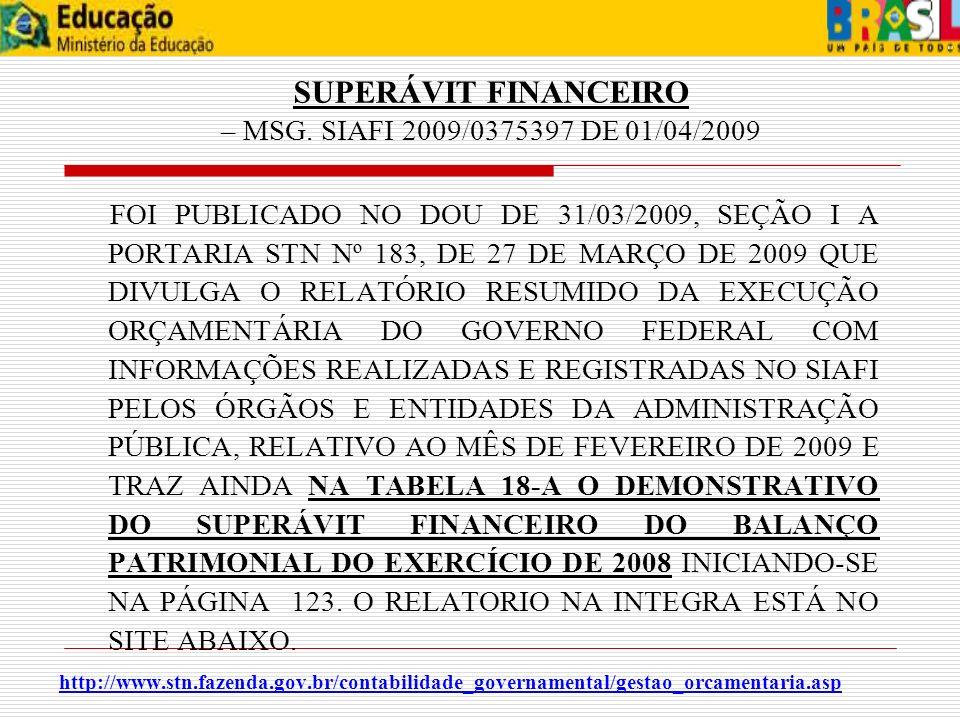 SUPERÁVIT FINANCEIRO – MSG. SIAFI 2009/0375397 DE 01/04/2009 FOI PUBLICADO NO DOU DE 31/03/2009, SEÇÃO I A PORTARIA STN Nº 183, DE 27 DE MARÇO DE 2009