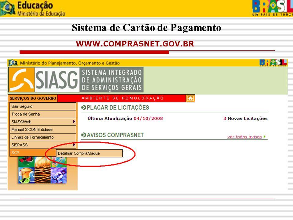 Sistema de Cartão de Pagamento WWW.COMPRASNET.GOV.BR