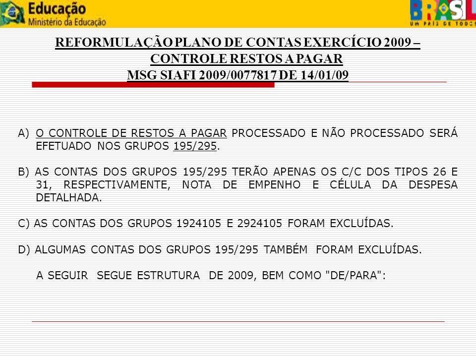 REFORMULAÇÃO PLANO DE CONTAS EXERCÍCIO 2009 – CONTROLE RESTOS A PAGAR MSG SIAFI 2009/0077817 DE 14/01/09 A)O CONTROLE DE RESTOS A PAGAR PROCESSADO E N