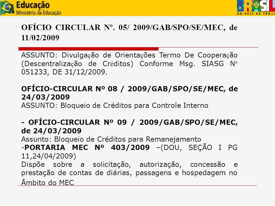 OFÍCIO CIRCULAR Nº. 05/ 2009/GAB/SPO/SE/MEC, de 11/02/2009 ASSUNTO: Divulga ç ão de Orienta ç ões Termo De Coopera ç ão (Descentraliza ç ão de Cr é di