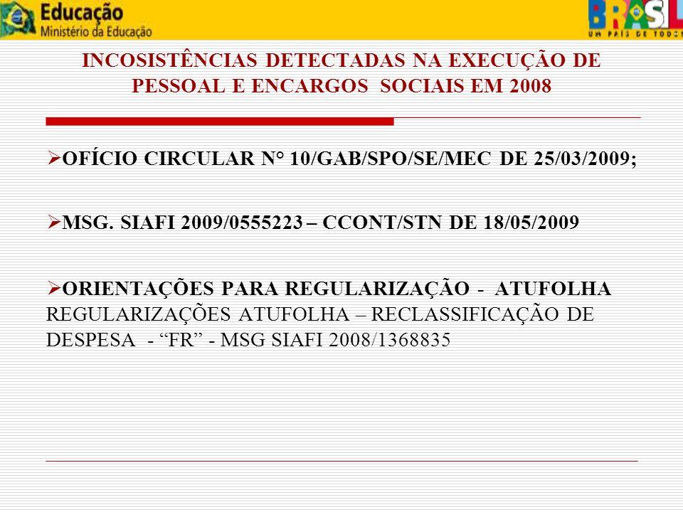 INCOSISTÊNCIAS DETECTADAS NA EXECUÇÃO DE PESSOAL E ENCARGOS SOCIAIS EM 2008 OFÍCIO CIRCULAR N° 10/GAB/SPO/SE/MEC DE 25/03/2009; MSG. SIAFI 2009/055522