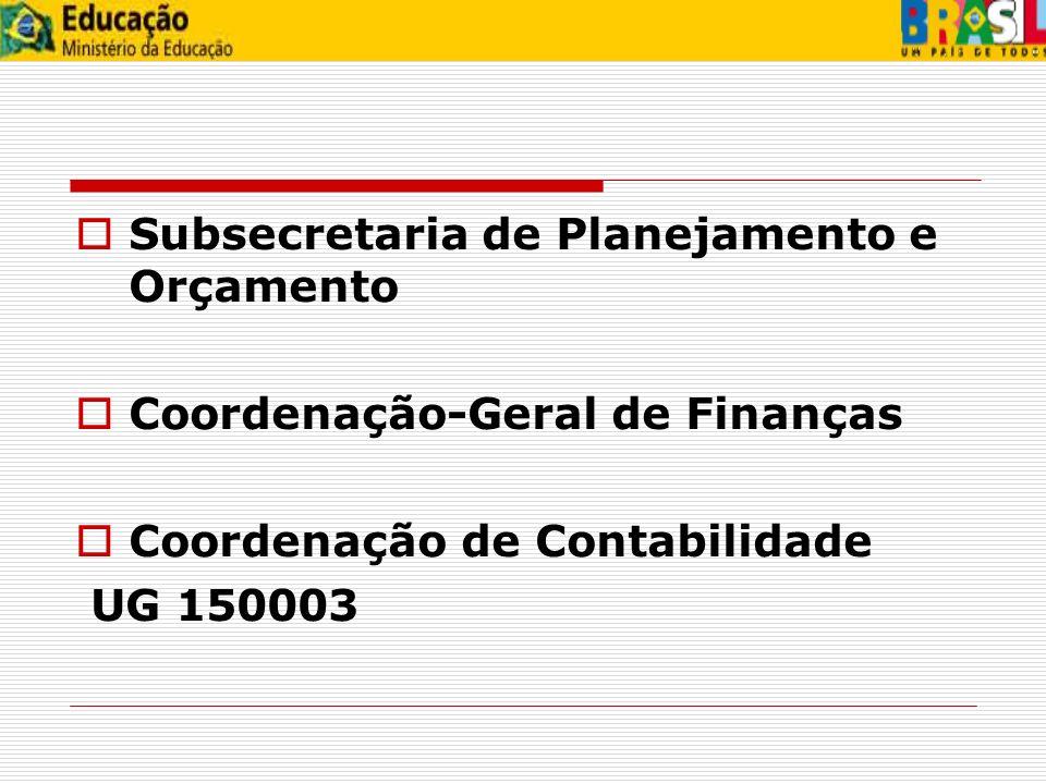 Subsecretaria de Planejamento e Orçamento Coordenação-Geral de Finanças Coordenação de Contabilidade UG 150003