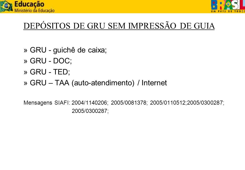 DEPÓSITOS DE GRU SEM IMPRESSÃO DE GUIA » GRU - guichê de caixa; » GRU - DOC; » GRU - TED; » GRU – TAA (auto-atendimento) / Internet Mensagens SIAFI: 2