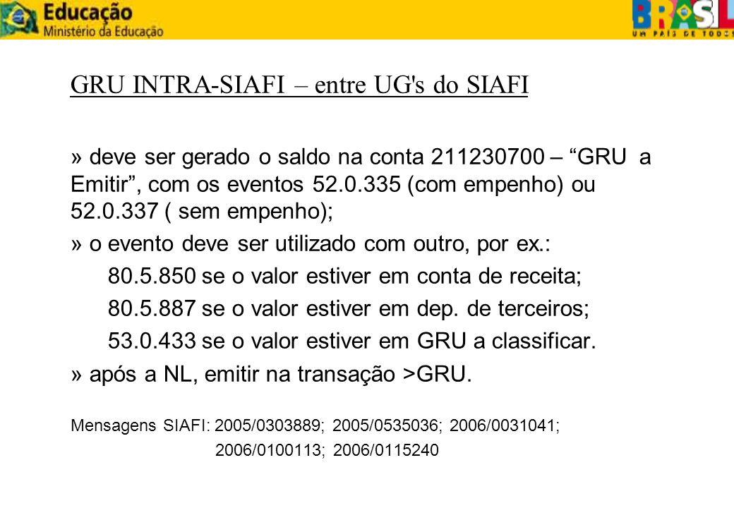 GRU INTRA-SIAFI – entre UG's do SIAFI » deve ser gerado o saldo na conta 211230700 – GRU a Emitir, com os eventos 52.0.335 (com empenho) ou 52.0.337 (