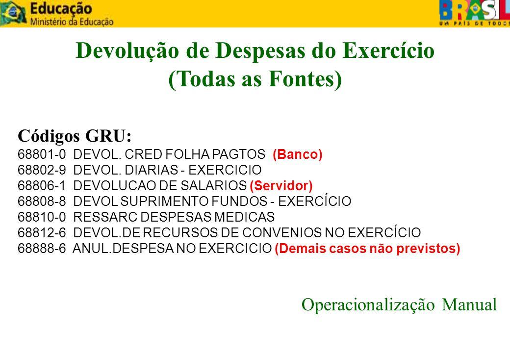 Devolução de Despesas do Exercício (Todas as Fontes) Códigos GRU: 68801-0 DEVOL. CRED FOLHA PAGTOS (Banco) 68802-9 DEVOL. DIARIAS - EXERCICIO 68806-1