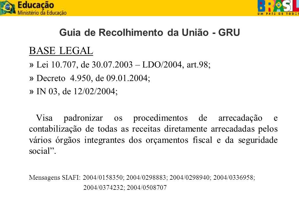 Guia de Recolhimento da União - GRU BASE LEGAL » Lei 10.707, de 30.07.2003 – LDO/2004, art.98; » Decreto 4.950, de 09.01.2004; » IN 03, de 12/02/2004;