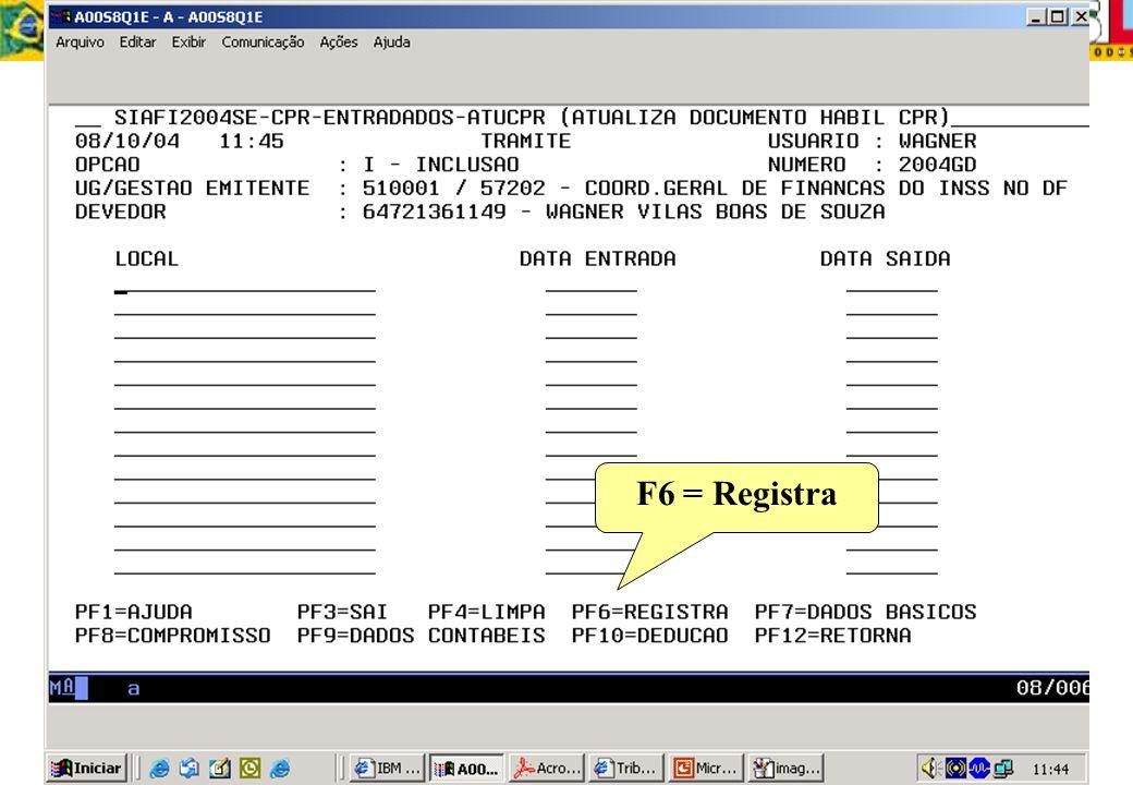 F6 = Registra
