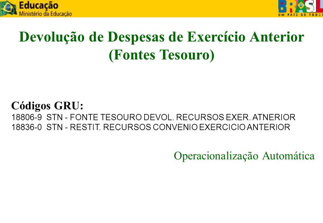 Códigos GRU: 18806-9 STN - FONTE TESOURO DEVOL. RECURSOS EXER. ATNERIOR 18836-0 STN - RESTIT. RECURSOS CONVENIO EXERCICIO ANTERIOR Operacionalização A