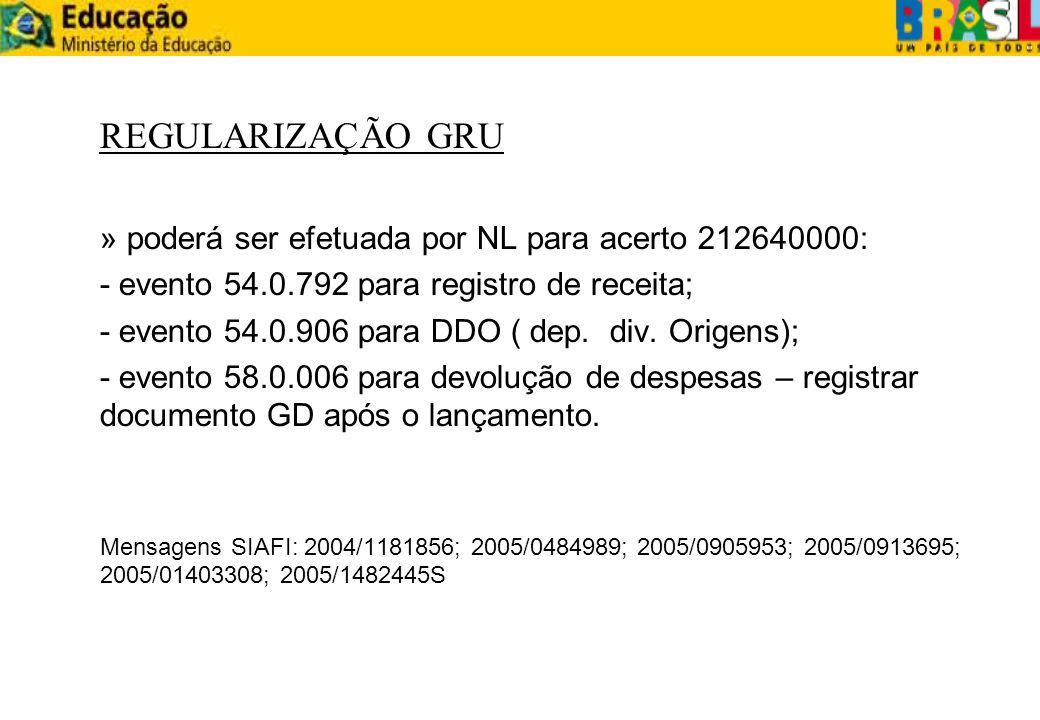 REGULARIZAÇÃO GRU » poderá ser efetuada por NL para acerto 212640000: - evento 54.0.792 para registro de receita; - evento 54.0.906 para DDO ( dep. di