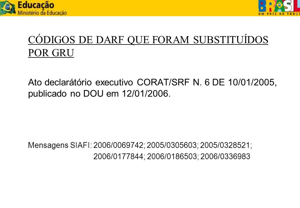 CÓDIGOS DE DARF QUE FORAM SUBSTITUÍDOS POR GRU Ato declarátório executivo CORAT/SRF N. 6 DE 10/01/2005, publicado no DOU em 12/01/2006. Mensagens SIAF