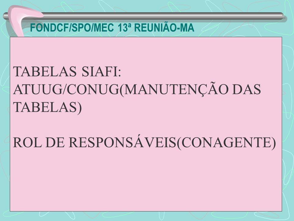 FONDCF/SPO/MEC 13ª REUNIÃO-MA TABELAS SIAFI: ATUUG/CONUG(MANUTENÇÃO DAS TABELAS) ROL DE RESPONSÁVEIS(CONAGENTE)