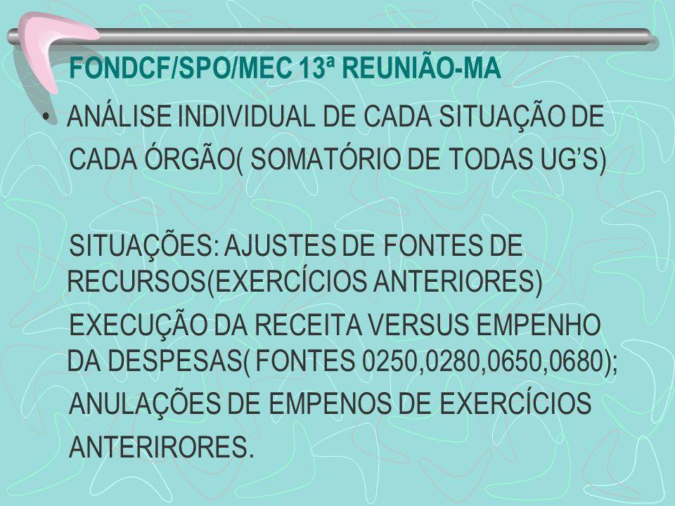 FONDCF/SPO/MEC 13ª REUNIÃO-MA ANÁLISE INDIVIDUAL DE CADA SITUAÇÃO DE CADA ÓRGÃO( SOMATÓRIO DE TODAS UGS) SITUAÇÕES: AJUSTES DE FONTES DE RECURSOS(EXER