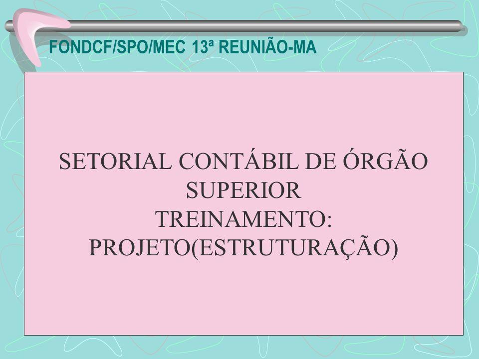 FONDCF/SPO/MEC 13ª REUNIÃO-MA SETORIAL CONTÁBIL DE ÓRGÃO SUPERIOR TREINAMENTO: PROJETO(ESTRUTURAÇÃO)