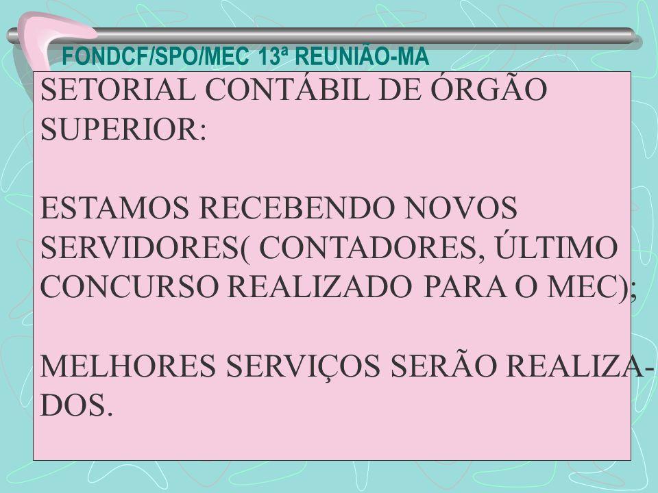 FONDCF/SPO/MEC 13ª REUNIÃO-MA SETORIAL CONTÁBIL DE ÓRGÃO SUPERIOR: ESTAMOS RECEBENDO NOVOS SERVIDORES( CONTADORES, ÚLTIMO CONCURSO REALIZADO PARA O ME