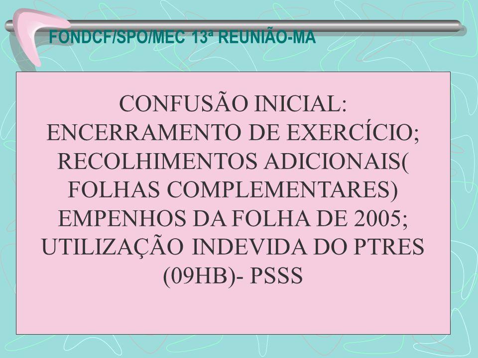 CONFUSÃO INICIAL: ENCERRAMENTO DE EXERCÍCIO; RECOLHIMENTOS ADICIONAIS( FOLHAS COMPLEMENTARES) EMPENHOS DA FOLHA DE 2005; UTILIZAÇÃO INDEVIDA DO PTRES