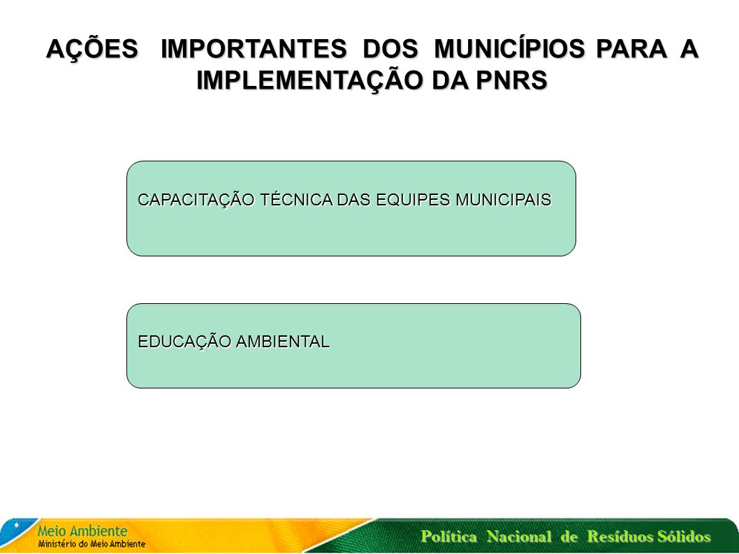 Política Nacional de Resíduos Sólidos O plano de gerenciamento de resíduos sólidos é parte integrante do processo de licenciamento ambiental do empree