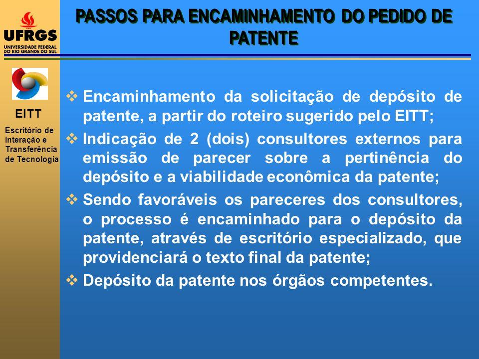EITT Escritório de Interação e Transferência de Tecnologia PASSOS PARA ENCAMINHAMENTO DO PEDIDO DE PATENTE Encaminhamento da solicitação de depósito d