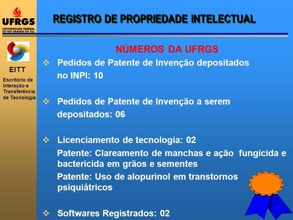 EITT Escritório de Interação e Transferência de Tecnologia REGISTRO DE PROPRIEDADE INTELECTUAL NÚMEROS DA UFRGS Pedidos de Patente de Invenção deposit