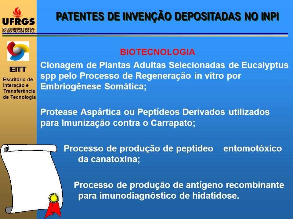 EITT Escritório de Interação e Transferência de Tecnologia PATENTES DE INVENÇÃO DEPOSITADAS NO INPI BIOTECNOLOGIA Clonagem de Plantas Adultas Selecion