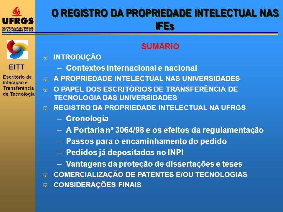 EITT Escritório de Interação e Transferência de Tecnologia O REGISTRO DA PROPRIEDADE INTELECTUAL NAS IFEs SUMÁRIO < INTRODUÇÃO –Contextos internaciona