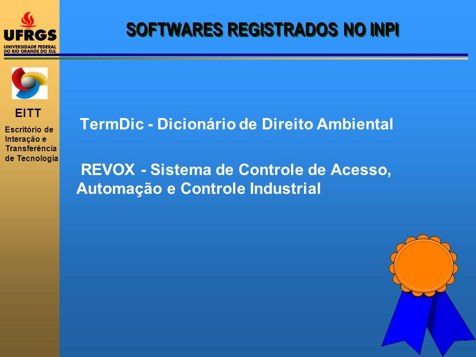 EITT Escritório de Interação e Transferência de Tecnologia SOFTWARES REGISTRADOS NO INPI TermDic - Dicionário de Direito Ambiental REVOX - Sistema de