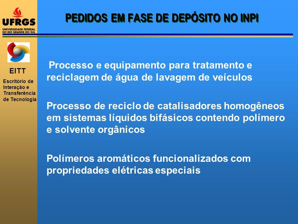 EITT Escritório de Interação e Transferência de Tecnologia PEDIDOS EM FASE DE DEPÓSITO NO INPI Processo e equipamento para tratamento e reciclagem de