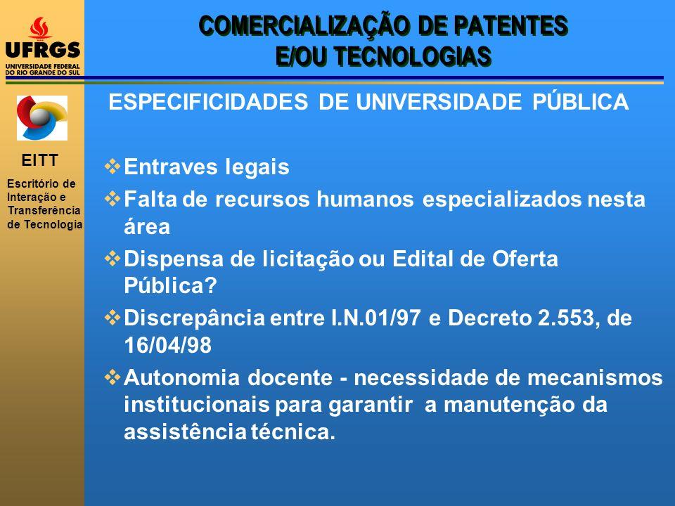 EITT Escritório de Interação e Transferência de Tecnologia COMERCIALIZAÇÃO DE PATENTES E/OU TECNOLOGIAS ESPECIFICIDADES DE UNIVERSIDADE PÚBLICA Entrav