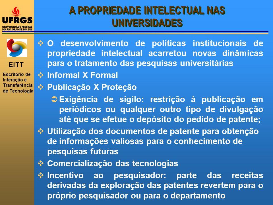 EITT Escritório de Interação e Transferência de Tecnologia A PROPRIEDADE INTELECTUAL NAS UNIVERSIDADES O desenvolvimento de políticas institucionais d