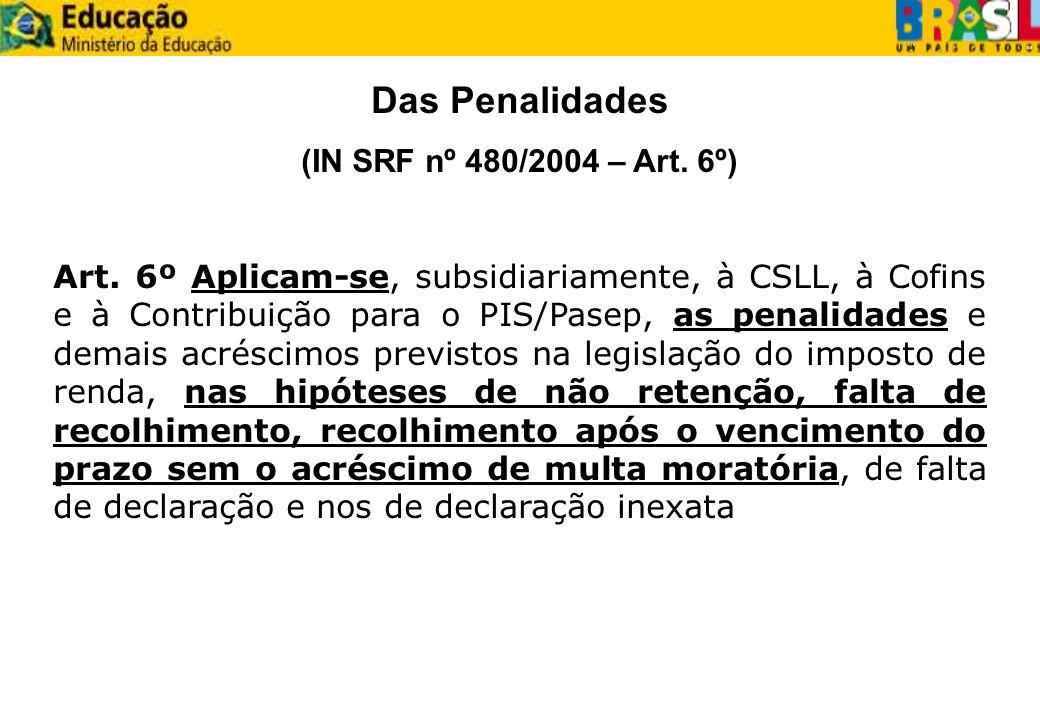 Das Penalidades (IN SRF nº 480/2004 – Art. 6º) Art. 6º Aplicam-se, subsidiariamente, à CSLL, à Cofins e à Contribuição para o PIS/Pasep, as penalidade