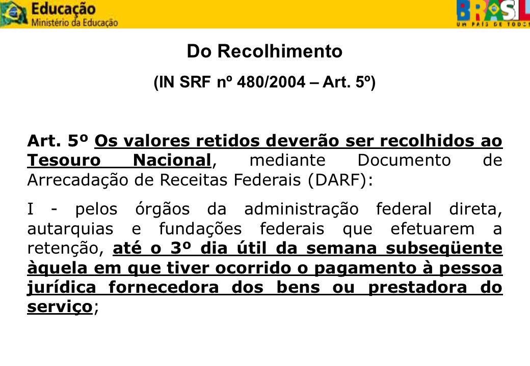 Do Recolhimento (IN SRF nº 480/2004 – Art. 5º) Art. 5º Os valores retidos deverão ser recolhidos ao Tesouro Nacional, mediante Documento de Arrecadaçã