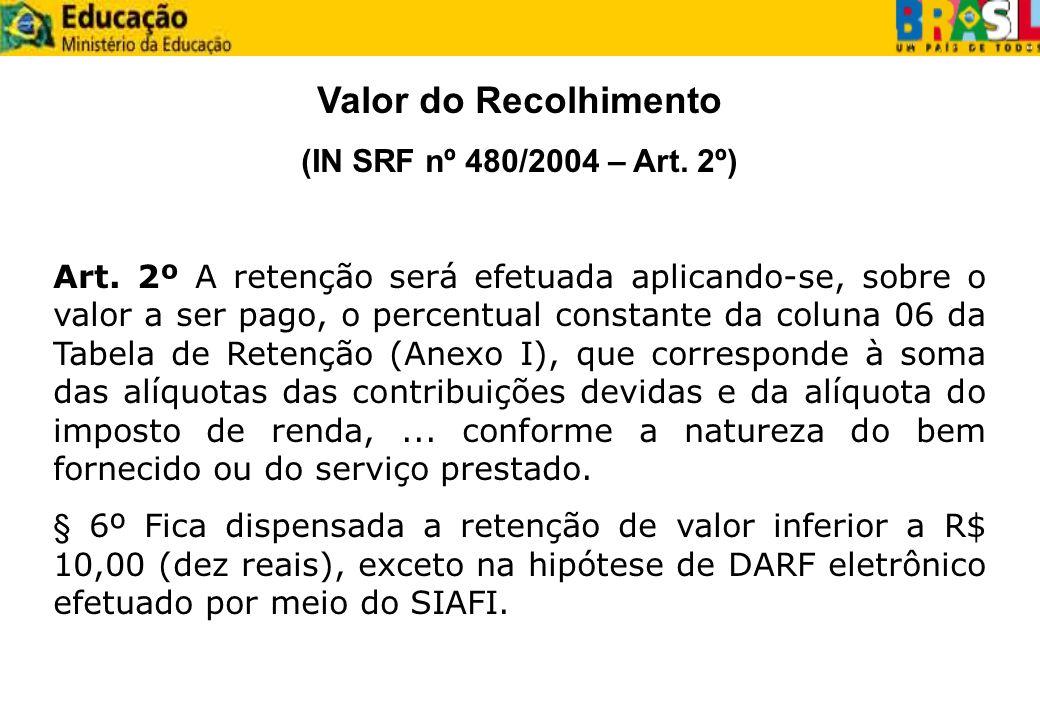 Valor do Recolhimento (IN SRF nº 480/2004 – Art. 2º) Art. 2º A retenção será efetuada aplicando-se, sobre o valor a ser pago, o percentual constante d