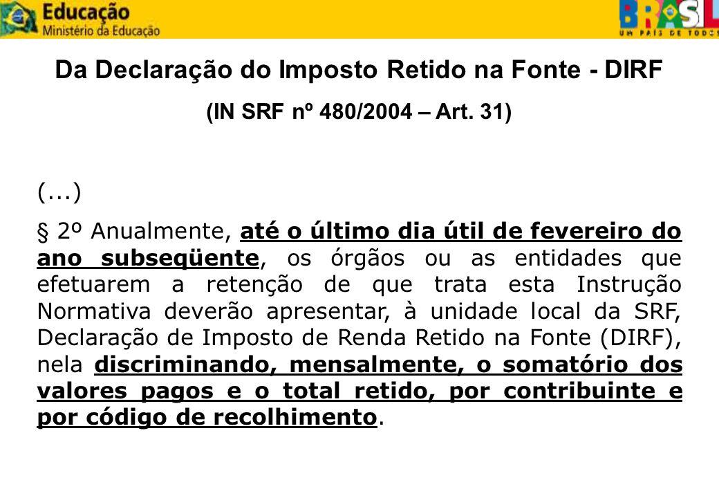Da Declaração do Imposto Retido na Fonte - DIRF (IN SRF nº 480/2004 – Art. 31) (...) § 2º Anualmente, até o último dia útil de fevereiro do ano subseq