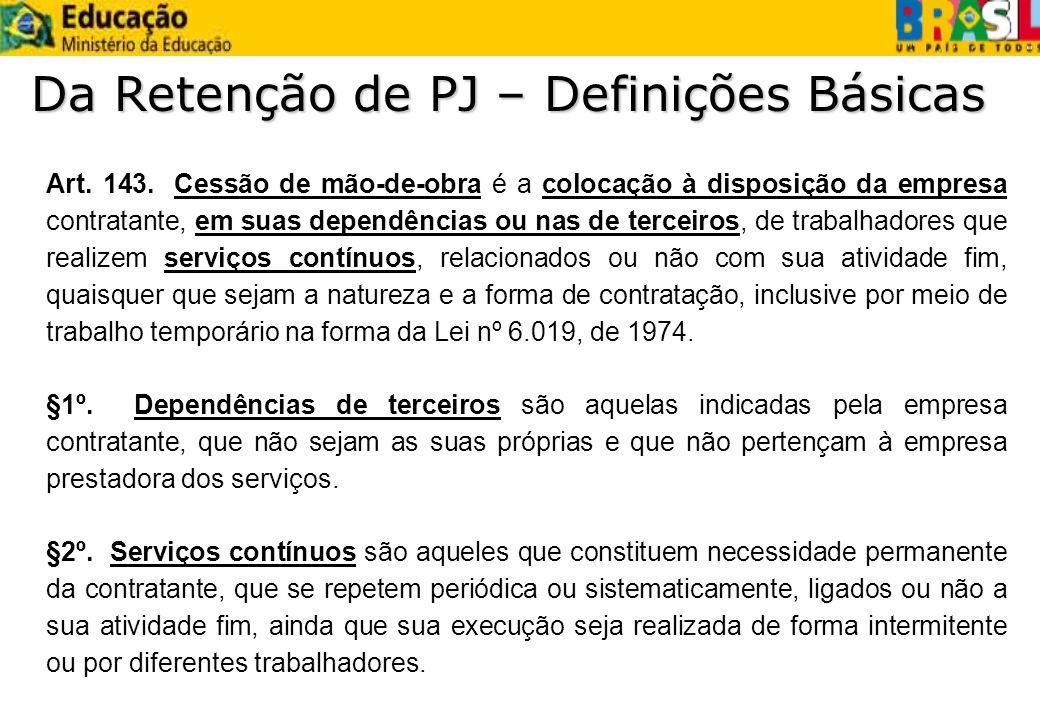 Da Retenção de PJ – Definições Básicas Art. 143. Cessão de mão-de-obra é a colocação à disposição da empresa contratante, em suas dependências ou nas